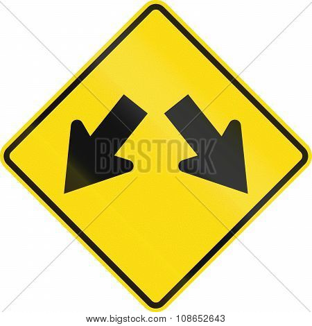 New Zealand Road Sign - Lane Diverges