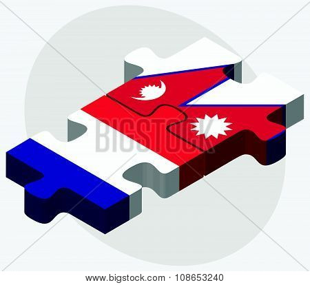France And Nepal Flags