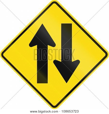 New Zealand Road Sign - Two-way Traffic