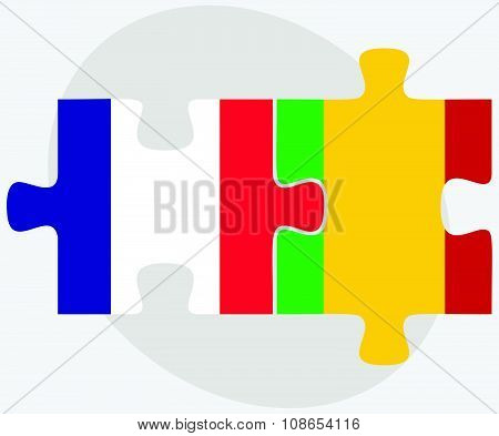 France And Mali Flags