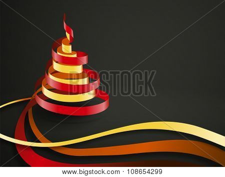 Vector ribbons curling in a form of Christmas tree with space for your text
