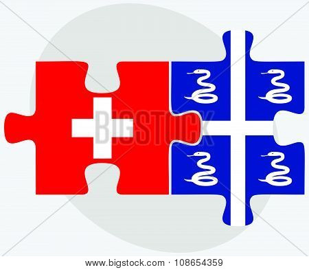 Switzerland And Martinique Flags