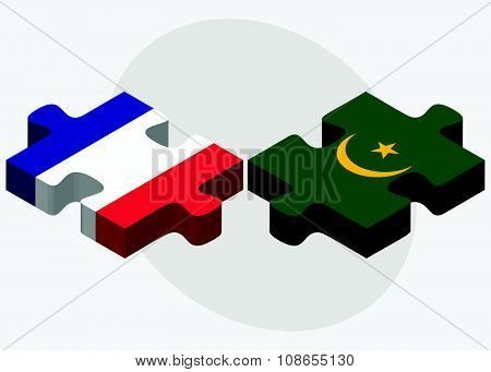 France And Mauritania Flags