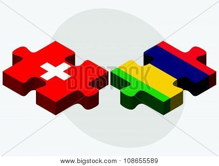 Switzerland And Mauritius Flags