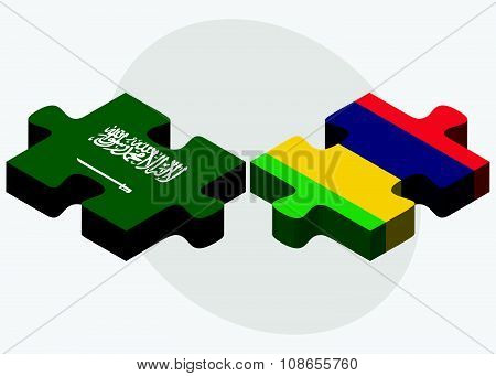 Saudi Arabia And Mauritius Flags