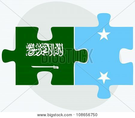 Saudi Arabia And Micronesia Flags