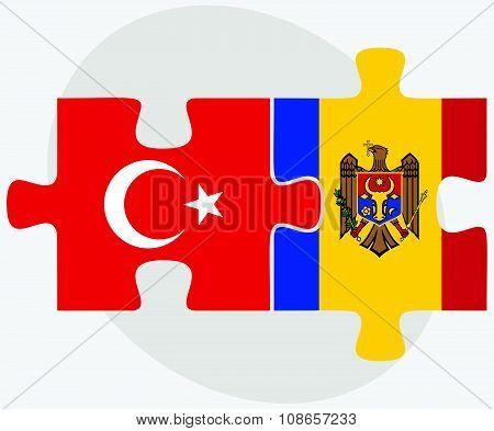 Turkey And Moldova Flags