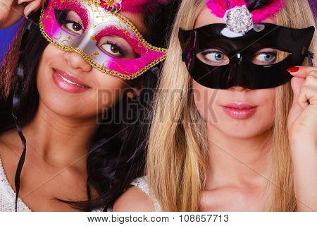 Two Women With Carnival Venetian Masks