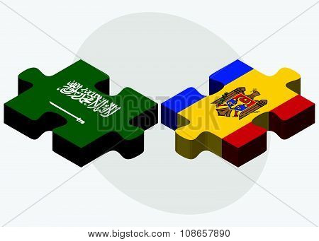Saudi Arabia And Moldova Flags