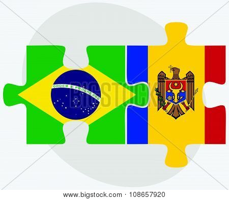 Brazil And Moldova Flags