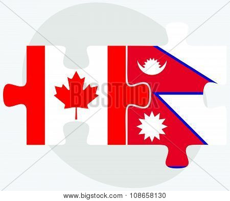 Canada And Nepal Flags