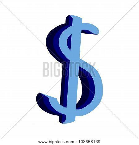 Dollar Icon On White.