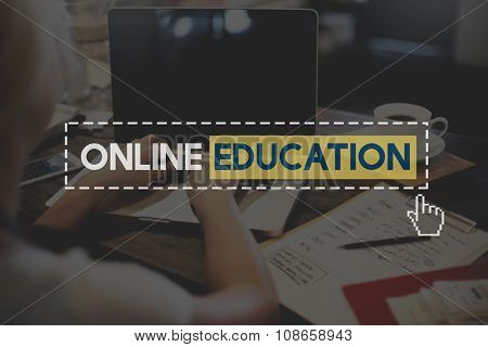 Online Education Knowledge Wisdom Communication Connection Concept