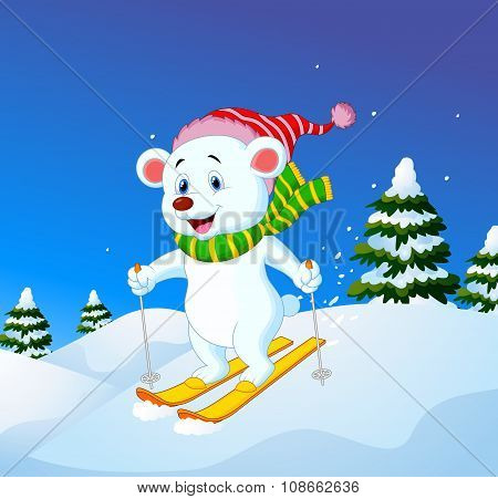 Cartoon polar bear skiing down a mountain slope