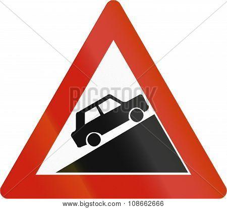 Norwegian Road Warning Sign - Steep Uphill Grade