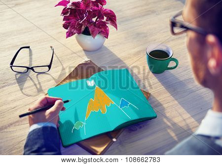 Aim Goal Motivate Strategy Success Mountain Target Concept