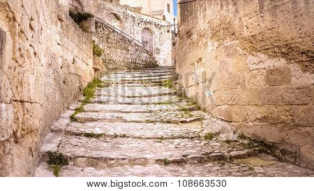 Old Stairs Of Stones, The Historic Building In Matera In Italy Unesco European Capital Of Culture 20