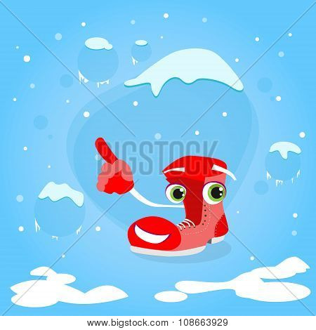 Red Santa Boots Cartoon Character Point Finger Up Show Empty Copy Space