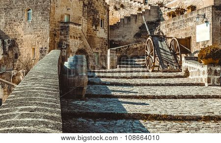 Old Historical Scene With Wood Wagon And Wine Barrels Typical Tool Used In Matera In The Past, Old S