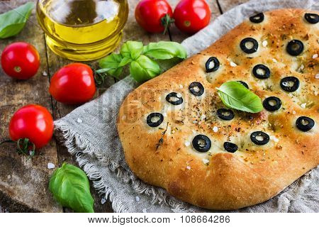 Italian Focaccia Bread With Black Olives