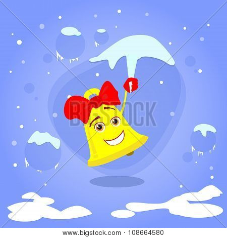 Christmas Bell Hang on Icicle Smile Cartoon Character Concept