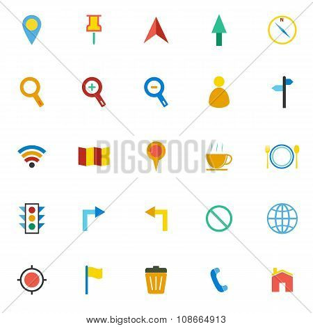 Map Color Icons On White Background