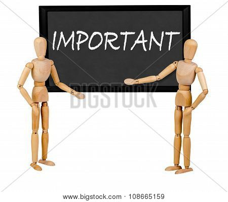 two mannequins pointing to blank blackboard stating 'important'