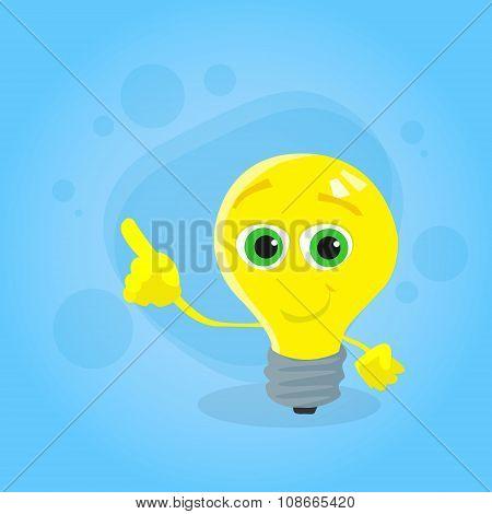 Light Yellow Bulb Cartoon Character Point Finger Up Corner