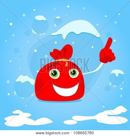 Red Santa Bag Cartoon Character Point Finger Up Show Empty Copy Space