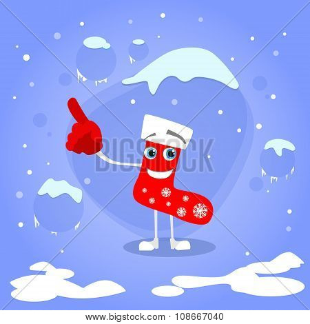 Christmas Red Socks Point Finger Up Show Empty Copy Space Cartoon