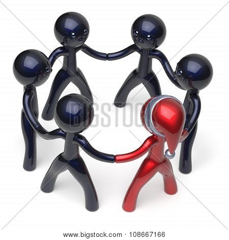 Teamwork Leader Circle Santa Hat Man Character Stylized Unity