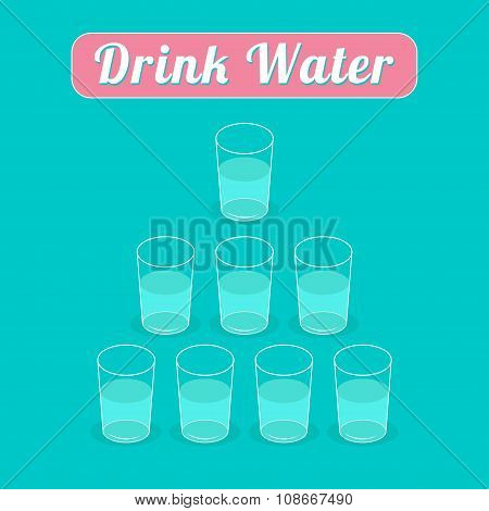 Drink 8 Glasses Of Water. Healthy Lifestyle Concept. Pyramid Set. Infographic. Flat Design.