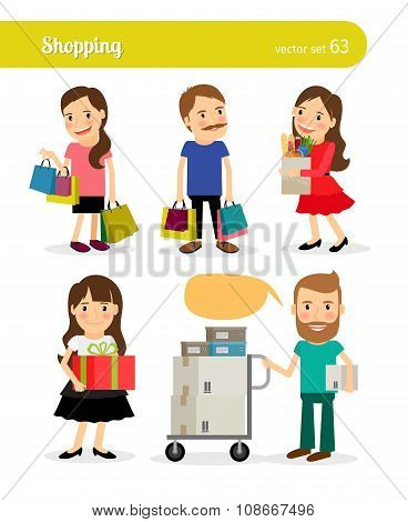 Shopping people with basket and cart