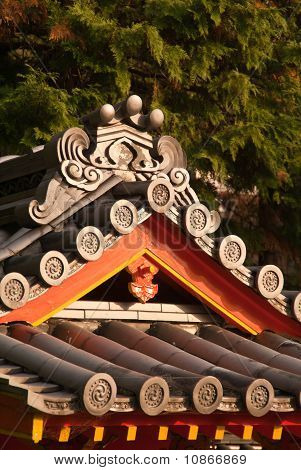 Detail Of A Tiled Japanese Temple Roof