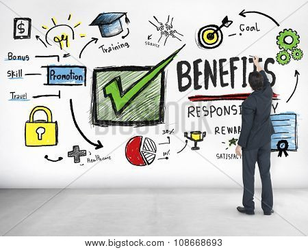 Benefits Gain Profit Earning Income Businessman Ideas Concept