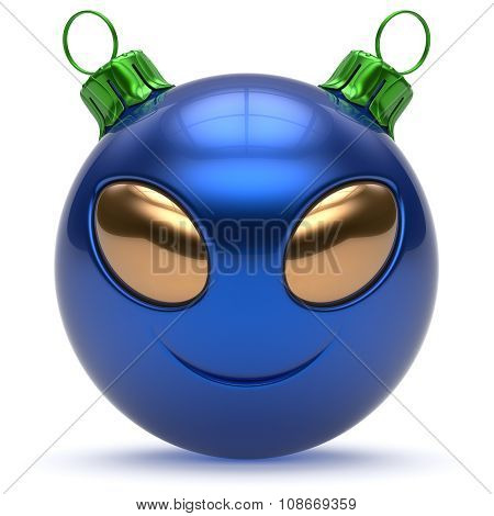 Christmas Ball Smiley Alien Face New Year's Eve Bauble Blue