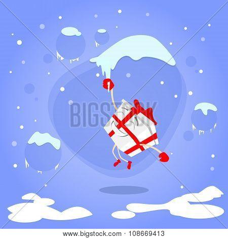 Gift Box Christmas Present Cartoon Character Hang on Icicle