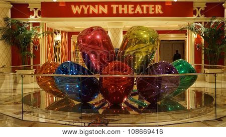 The Jeff Koons Tulips Sculpture display at the Wynn Hotel in Las Vegas