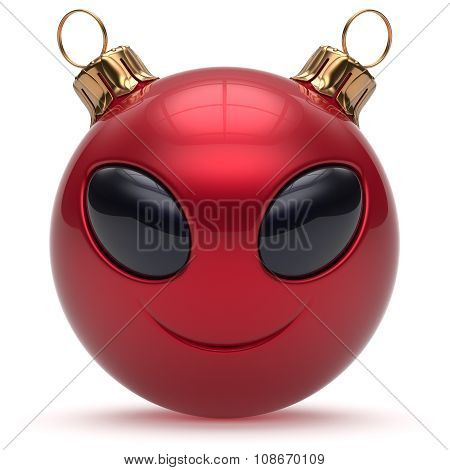 Christmas Ball Smiley Alien Face Happy New Year Bauble Red