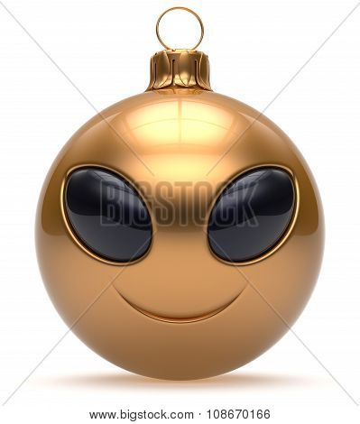 Smiley Alien Face Christmas Ball Happy New Year Bauble Golden
