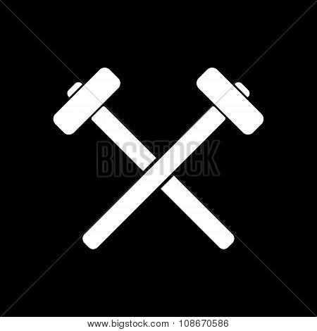 The hammer icon. Sledgehammer symbol. Flat
