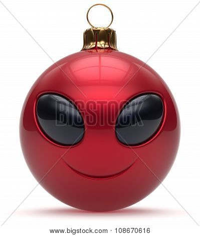 Smiley Alien Face Christmas Ball Happy New Year Bauble Red