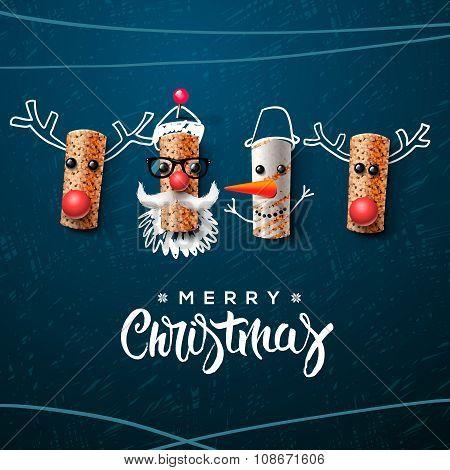 Christmas character, Santa Claus snowman, reindeer