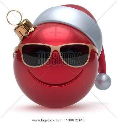 Christmas Ball Smiley Face Emoticon Happy New Year Bauble