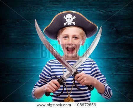 Little pirate boy with cutlass