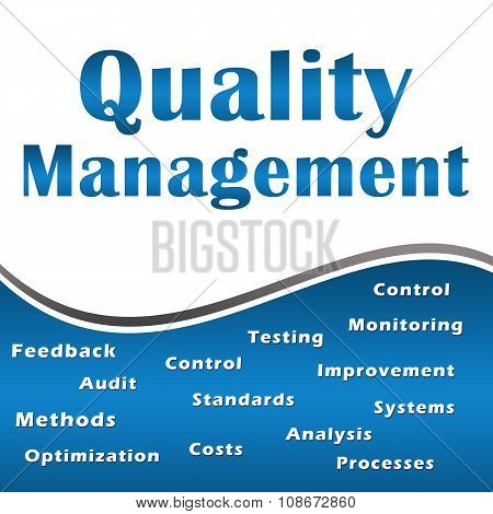 Quality Management Blue Keywords Square