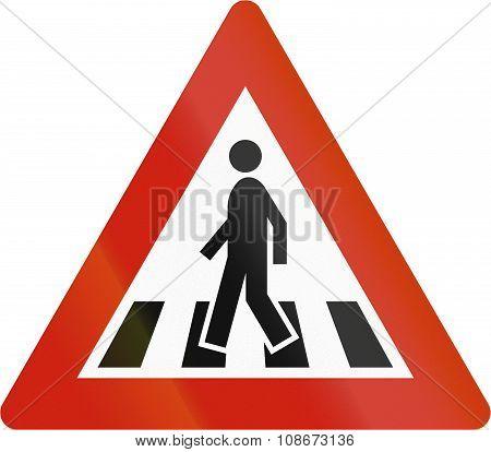 Norwegian Road Warning Sign - Zebra Crossing