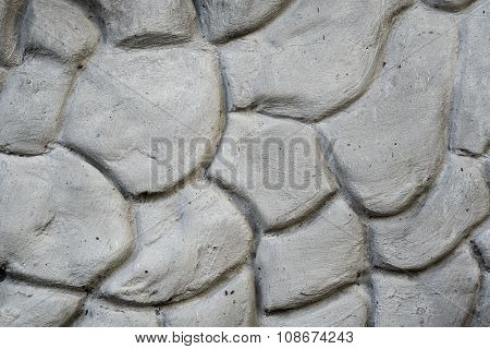 Texture Of Gray Wall Plastered In Form Of Big Stones