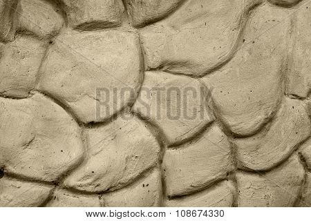 Texture Of Warm Gray Wall Plastered In Form Of Big Stones