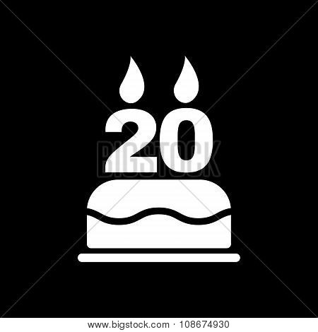 The birthday cake with candles in the form of number 20 icon. Birthday symbol. Flat